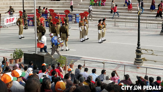 Soldiers at Wagah Border Parade