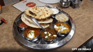 A vegetation Thali represented to our guests in our Amritsar Street Food Bicycle Tour