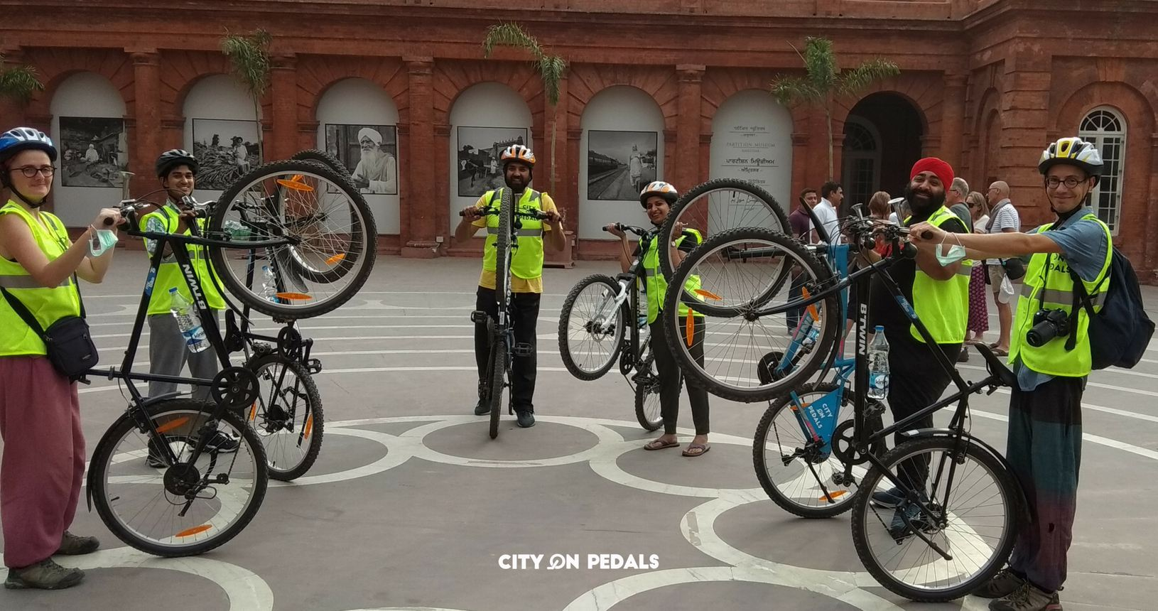 Heritage bicycle tour stop at the Partition Museum