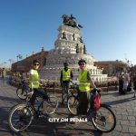City On Pedals bicycles posing in front of Maharaja Ranjit Singh Statue