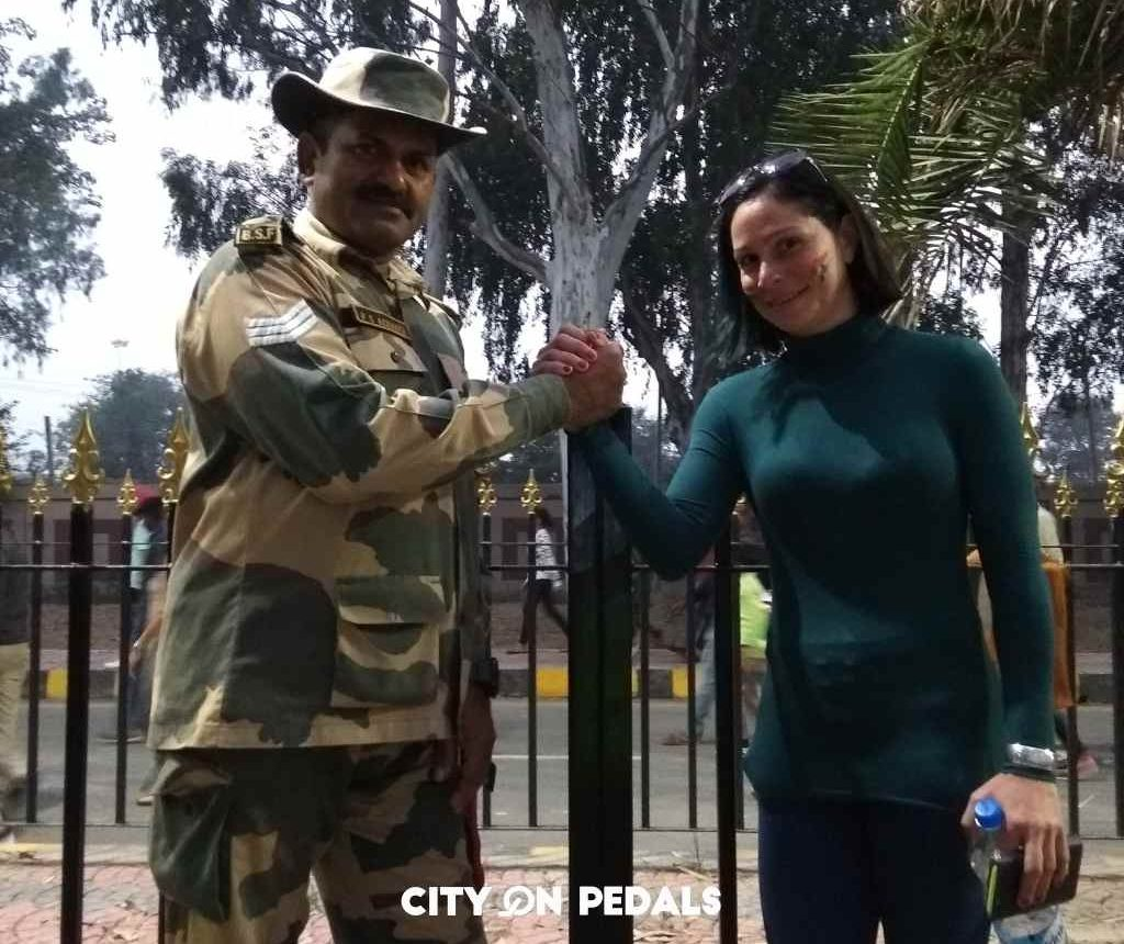 Shaking hands with a soldier posted at the Wagah Border