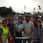 Mixed group of travelers at the Wagah Border with our guide