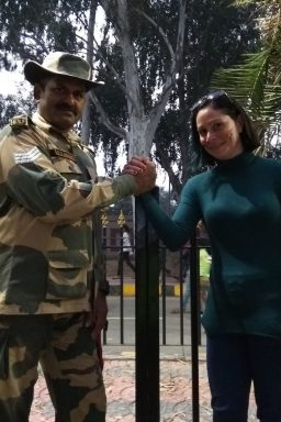 Handshake with a border officer