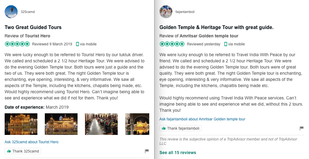 Fake reviews by Travel India With Peace